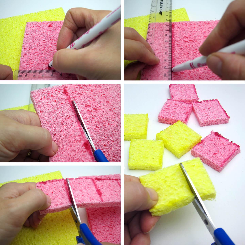 Cut sponge into squares.