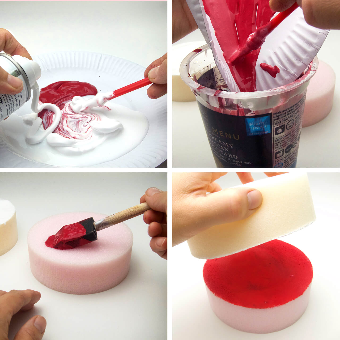 Make a filling for the pretend cake.