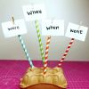 Sight words attached to straws as a literacy tool.