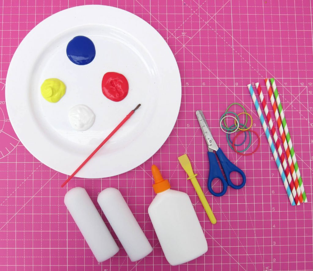 Craft items required for popsicle craft.