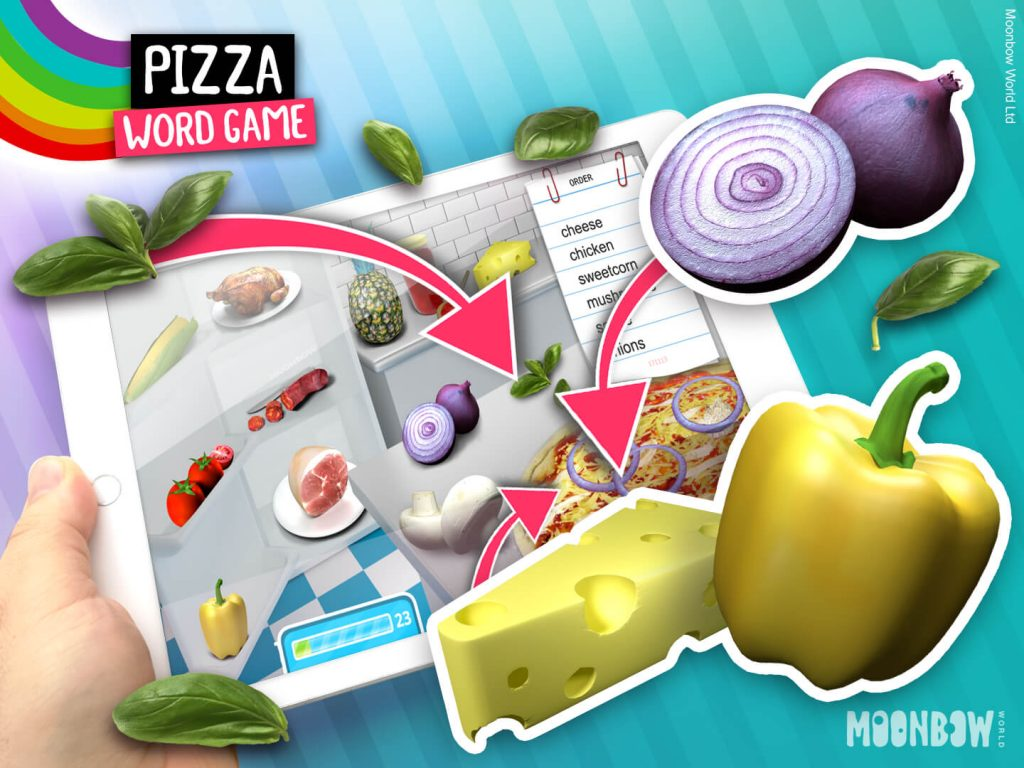 Pizza Toppings Vocabulary - Language Learning Game.