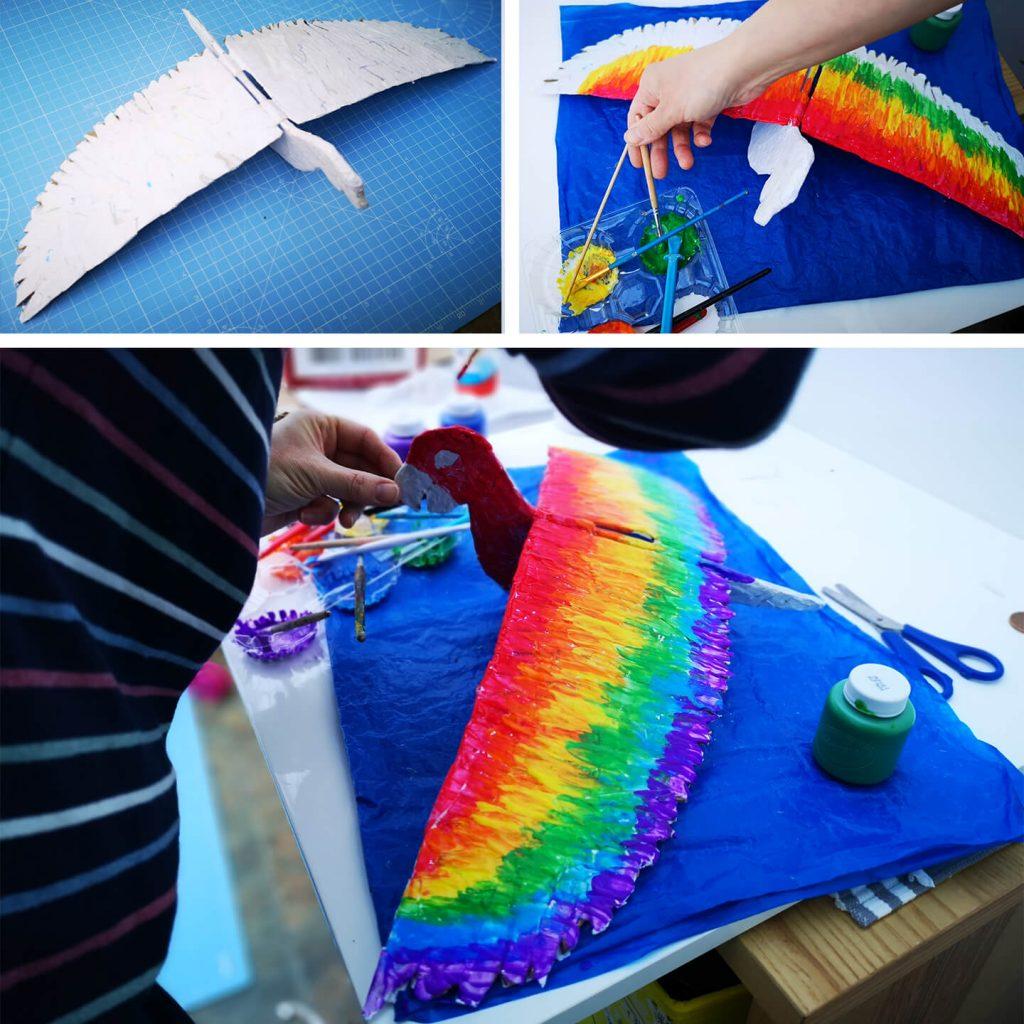 Painting the bird craft.