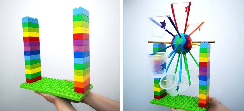 Create columns for the STEM water wheel so that you can easily demonstrate transferring potential energy into kinetic energy!