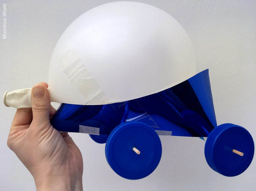 Card chassis balloon powered car.