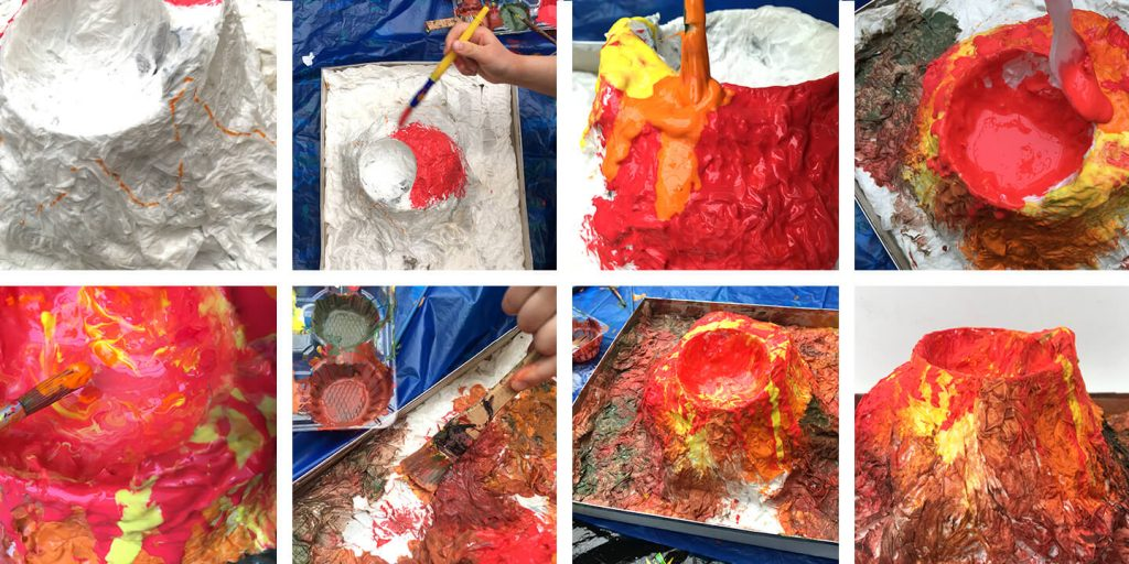 Painting the volcano.