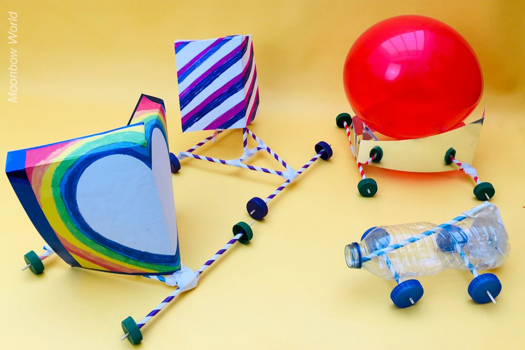 Balloon and wind powered cars.